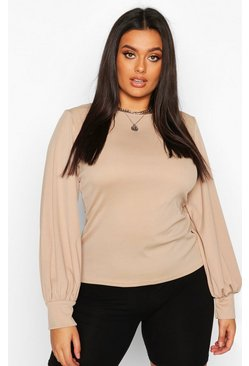 Stone Plus Soft Rib Balloon Sleeve Crew Neck Top