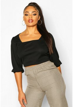 Black Plus Rib Balloon Sleeve Square Neck Crop Top