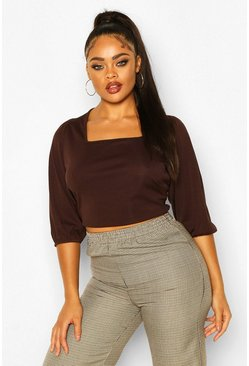 Chocolate Plus Rib Balloon Sleeve Square Neck Crop Top