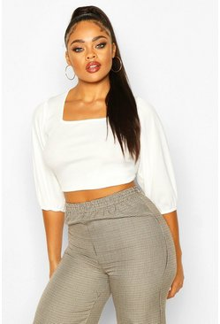 Ecru Plus Rib Balloon Sleeve Square Neck Crop Top