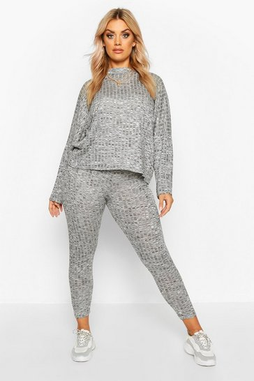 Womens Grey Plus Crop Batwing Boxy Rib Knit Lounge Set