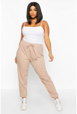 Womens Stone Plus Ribbed Basic Oversized Jogger