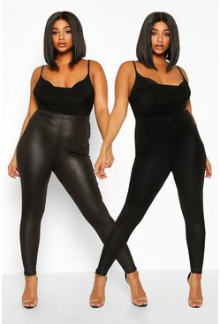 Pack de 2 leggings y leggings básicos Plus, Negro