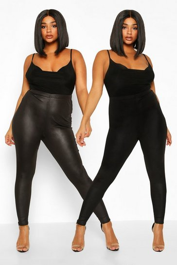 Womens Black Plus 2 Pack Legging & Basic Legging