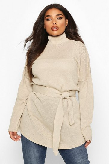 Womens Stone Plus Belted High Neck Jumper