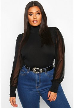 Dam Black Plus High Neck Puff Mesh Sleeve Rib Top