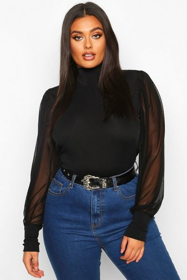 Womens Black Plus High Neck Puff Mesh Sleeve Rib Top