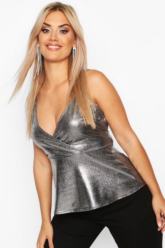 Plus Metallic Wrap Cami Peplum Top