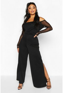 Womens Black Plus Mesh Sleeve Wide Split Leg Jumpsuit