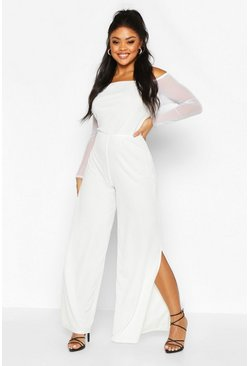 Ivory Plus Mesh Sleeve Wide Split Leg Jumpsuit