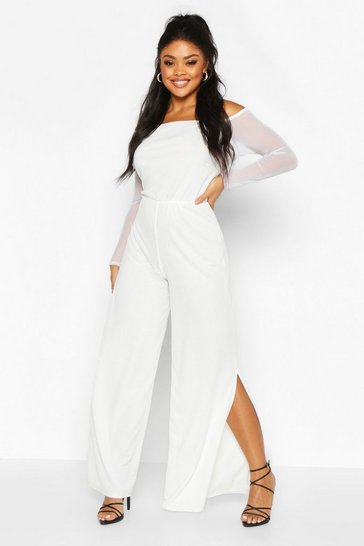 Womens Ivory Plus Mesh Sleeve Wide Split Leg Jumpsuit
