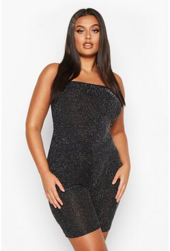Womens Silver Plus Shimmer Glitter Bandeau Tube Top