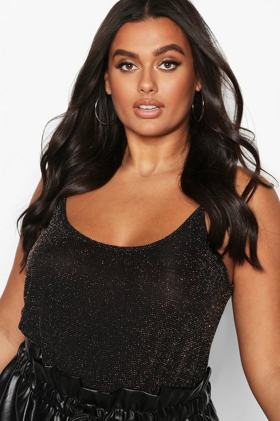 Plus Shimmer Glitter Swing Strappy Cami