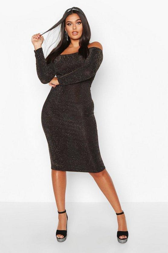 Plus Shimmer Glitter Off The Shoulder Long Sleeve Midi Dress