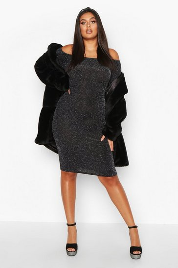 Silver Plus Shimmer Glitter Off The Shoulder Long Sleeve Midi Dress