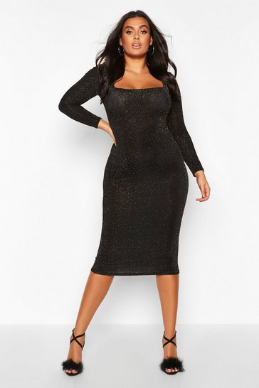 Gold Plus Shimmer Glitter Square Neck Longsleeve Midi Dress