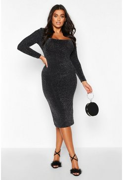Silver Plus Shimmer Glitter Square Neck Longsleeve Midi Dress