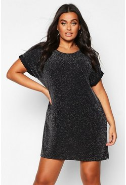 Silver Plus Shimmer Glitter T-Shirt Dress
