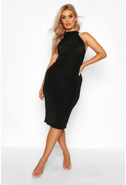 Womens Black Plus High Neck Textured Slinky Midi Dress