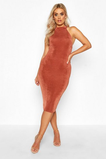 Chocolate Plus High Neck Textured Slinky Midi Dress