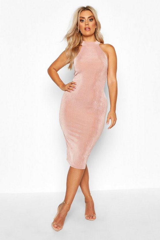 Womens Rose Plus High Neck Textured Slinky Midi Dress