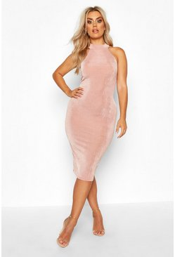 Rose Plus High Neck Textured Slinky Midi Dress