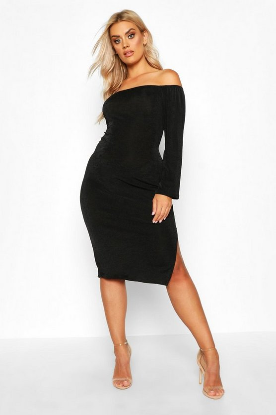 Womens Black Plus Off The Shoulder Textured Slinky Midi Dress