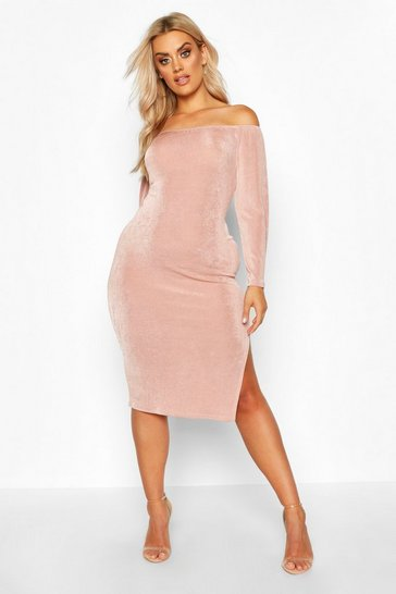Womens Rose Plus Off The Shoulder Textured Slinky Midi Dress