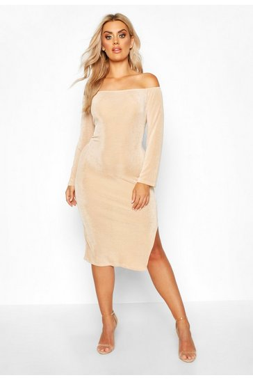 Womens Stone Plus Off The Shoulder Textured Slinky Midi Dress