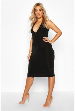 Womens Black Plus Plunge Textured Slinky Midi Dress