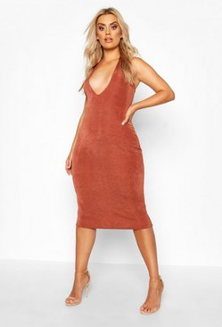 Womens Chocolate Plus Plunge Textured Slinky Midi Dress