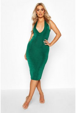 Womens Jade Plus Plunge Textured Slinky Midi Dress