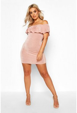 Rose Plus Bardot Ruffle Textured Slinky Midi Dress