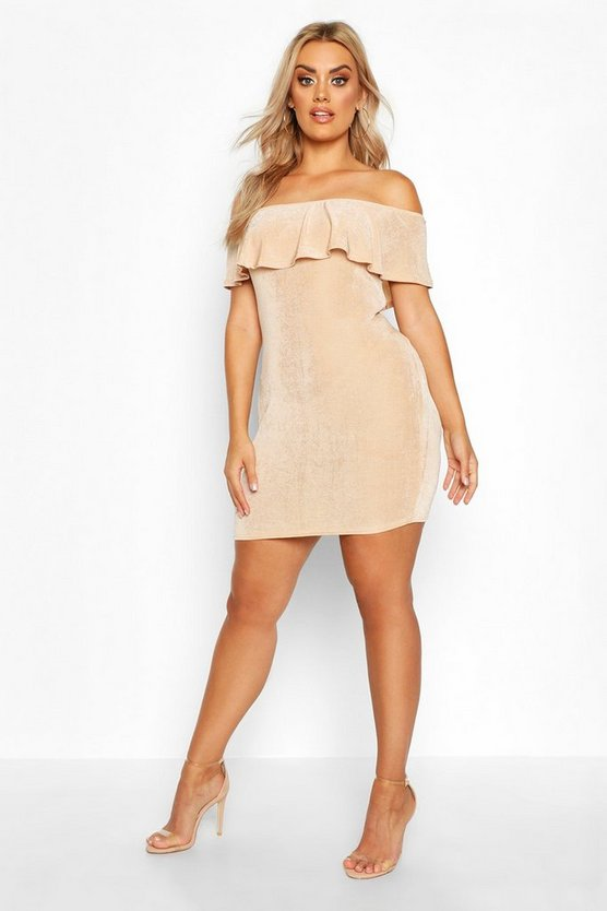 Stone Plus Bardot Ruffle Textured Slinky Mini Dress