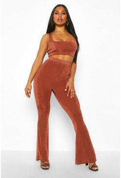 Womens Chocolate Textured Slinky Crop & High Waist Flares