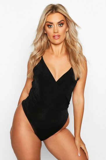 Black Plus Textured Slinky Wrap Bodysuit