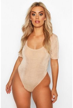 Womens Stone Plus Textured Slinky Plunge Bodysuit