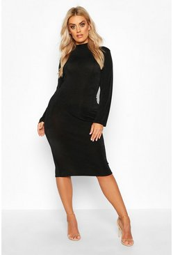 Womens Black Plus Textured Slinky High Neck Midi Dress