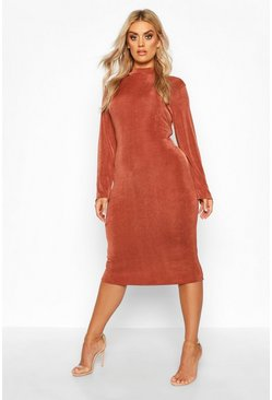 Womens Chocolate Plus Textured Slinky High Neck Midi Dress