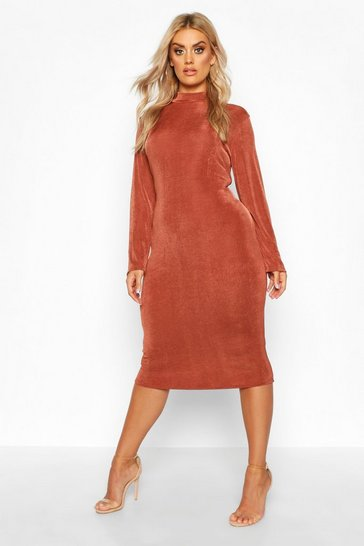 Chocolate Plus Textured Slinky High Neck Midi Dress