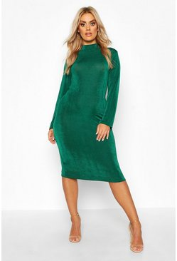 Jade Plus Textured Slinky High Neck Midi Dress