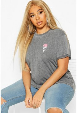 Dam Charcoal Plus Acid Wash Pocket Rose Print T-Shirt