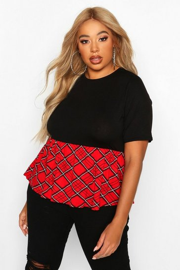 Womens Black Plus Contrast Check Smock Top