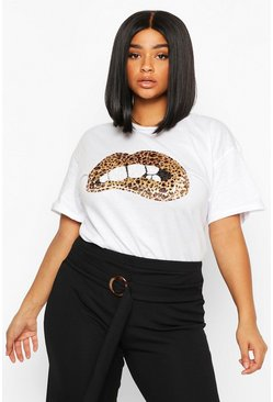 Womens White Plus Sequin Lip Print T-Shirt