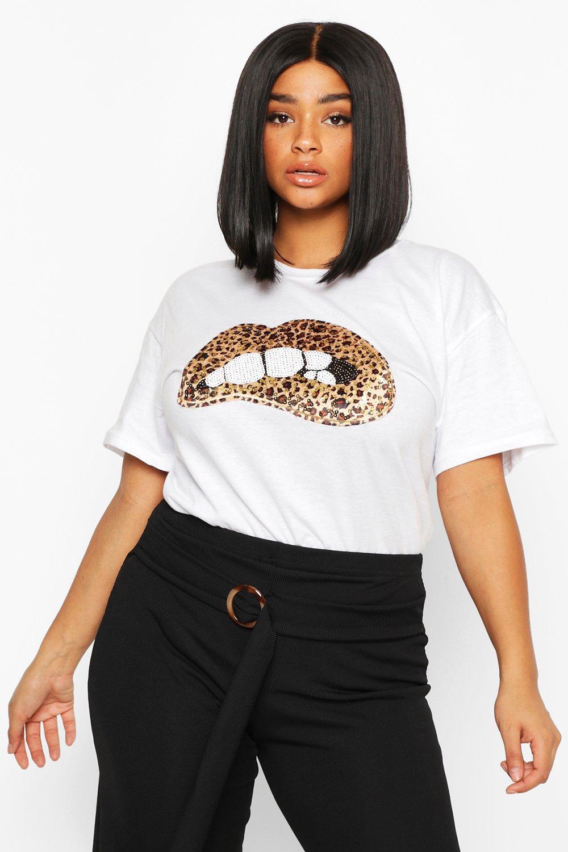 Plus Sequin Lip Print T-Shirt 8