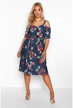 Womens Navy Plus Floral Plunge Ruffle Midi Dress