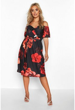 Womens Black Plus Mono Floral Plunge Ruffle Midi Dress
