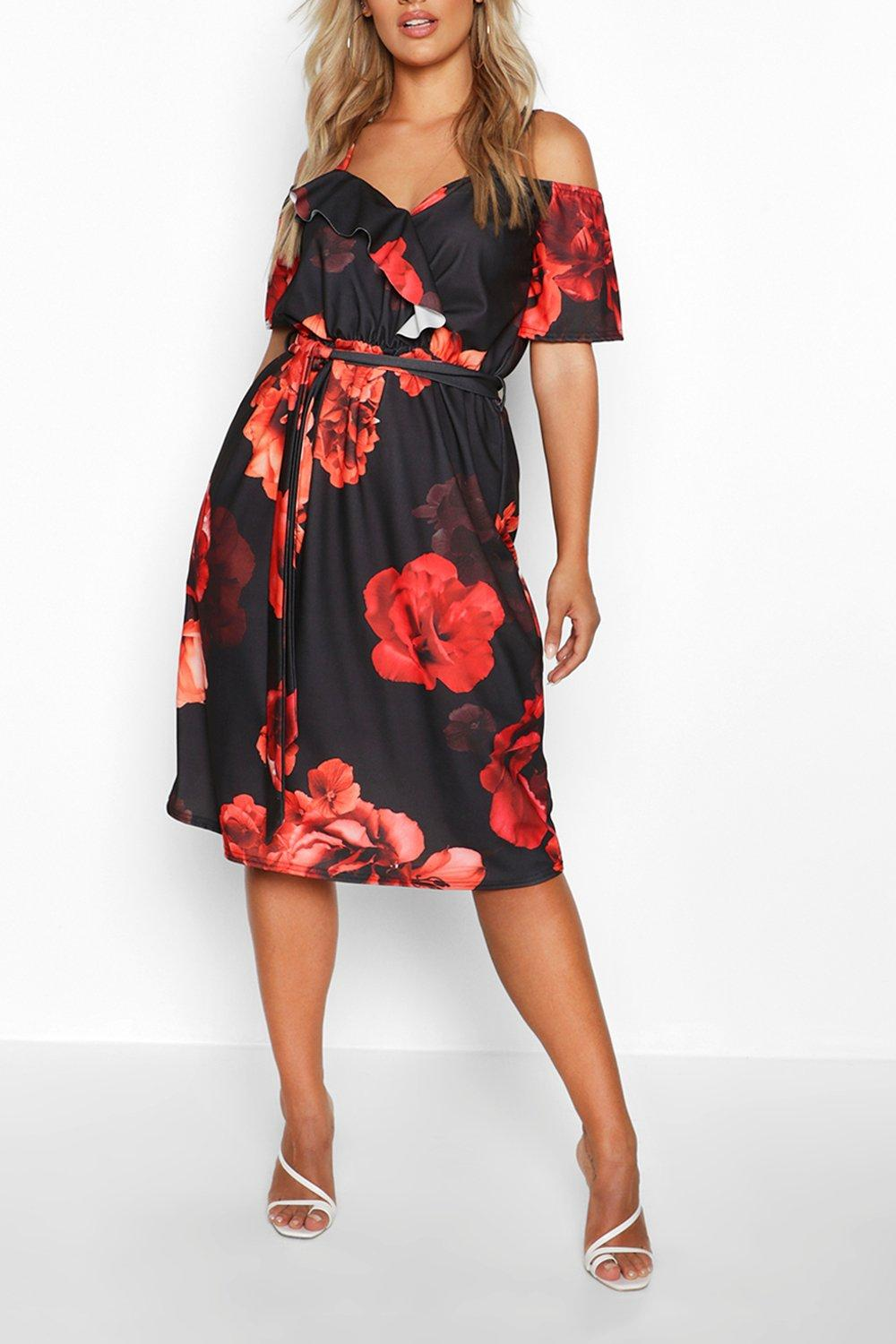 black and red floral print dress from boo hoo dot com