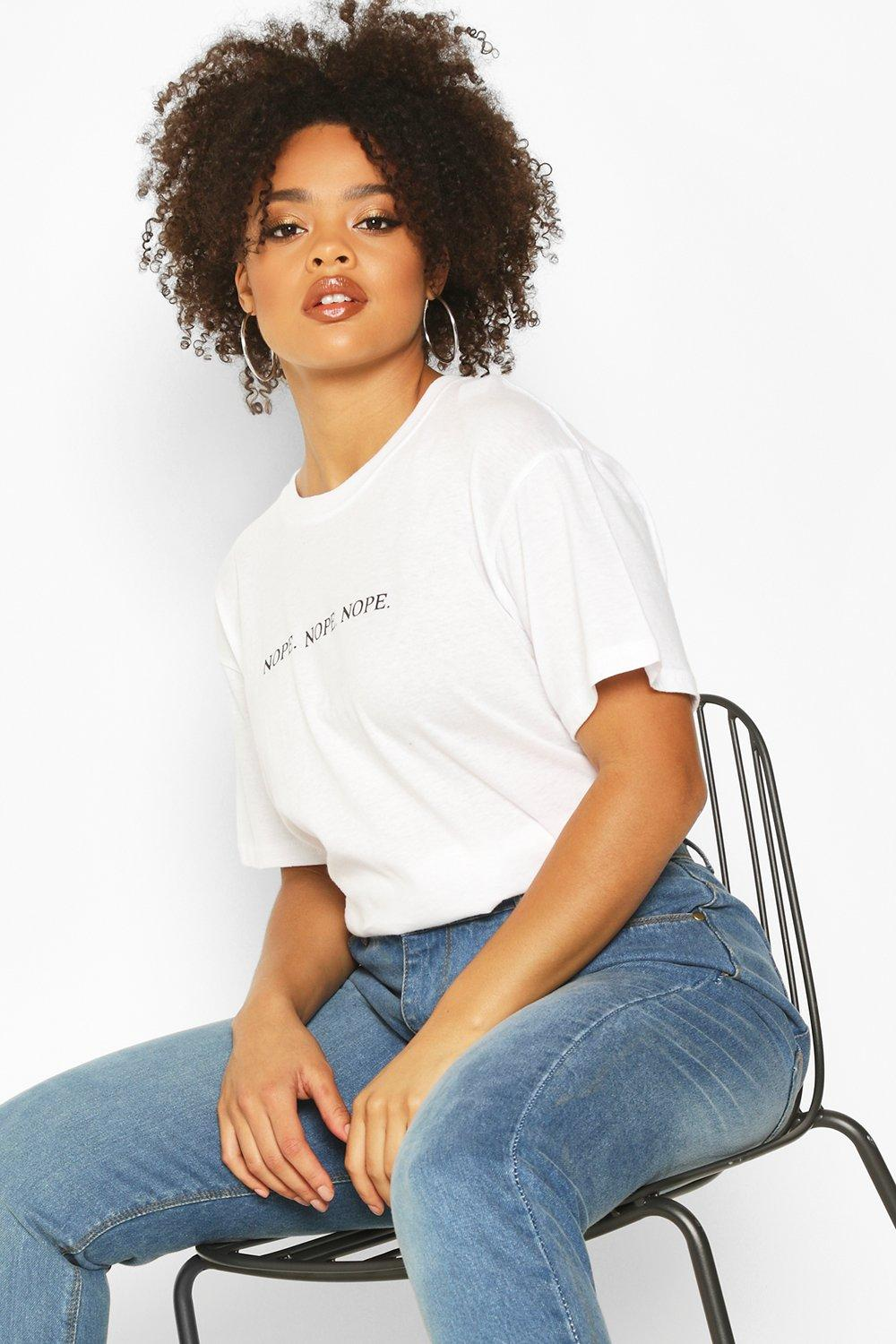 Plus Nope Nope Nope Slogan T Shirt by Boohoo