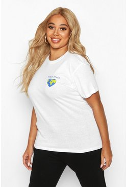 Womens White Plus World Peace Pocket Print T-Shirt